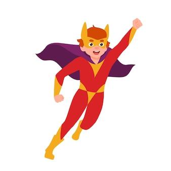 강력한 자세로 서 있는 슈퍼보이, 슈퍼차일드 또는 비밀 슈퍼 에이전트. 마스크, 바디수트, 망토를 입은 소년. 용감하고 강한 영웅 아이 또는 아이. 평면 만화 스타일의 다채로운 벡터 일러스트 레이 션.
