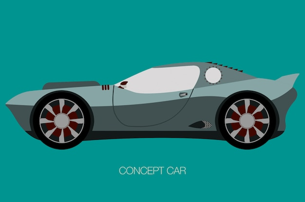 Supercar vector, side view of car, automobile, motor vehicle