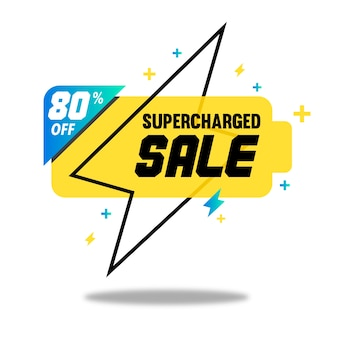 Supercharged sale banner with battery silhouette