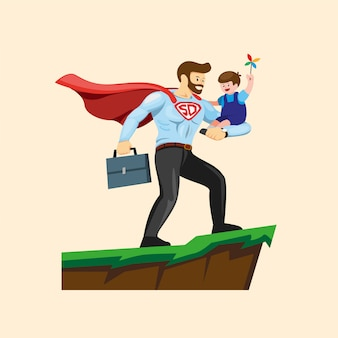 Superdad carrying son, happy father`s day illustration in cartoon flat illustration