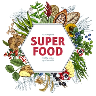 Superfood hexagon frame banner, full color realistic