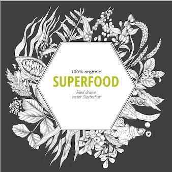 Superfood hexagon frame banner,