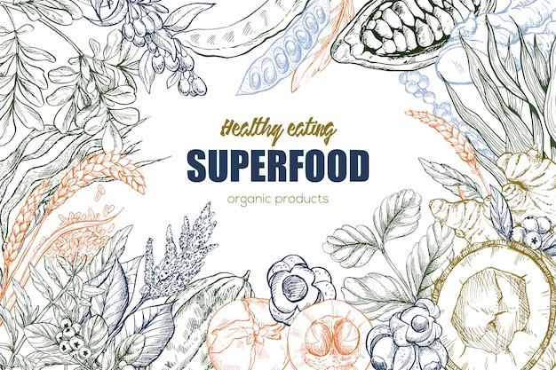 Superfood, realistic sketch frame design