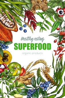 Superfood, realistic sketch frame