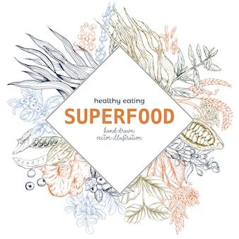 Superfood rhombus frame banner, color vector illustration