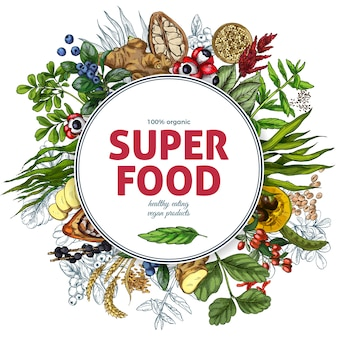Superfood round frame banner, full color realistic sketch