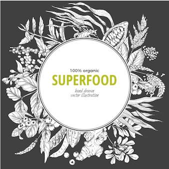 Superfood round frame banner,