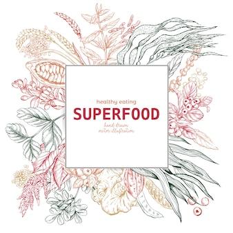 Superfood square frame banner, color sketch