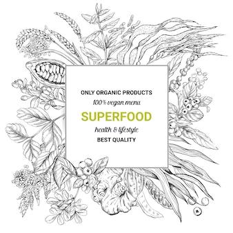Superfood square frame banner,