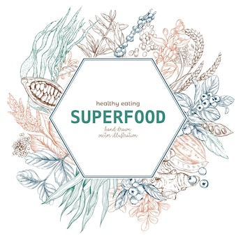 Superfood六角形フレームバナー、カラースケッチ