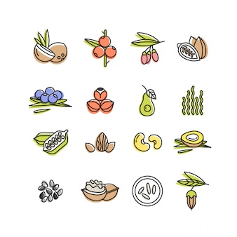 Superfoods line icons set