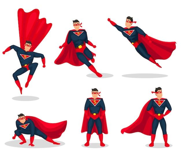 Superhero action icons set