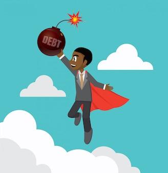 Superhero african businessman carry debt bomb.