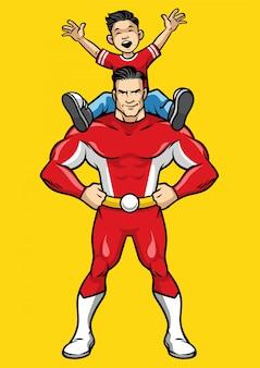 スーパーヒーローと子供