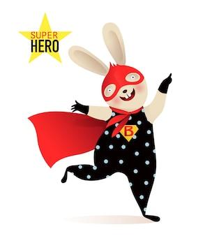 マスクとマントの衣装を着たスーパーヒーローの赤ちゃんウサギ。子供のための陽気な幸せな動物のデザイン。キャラクターデザイン。