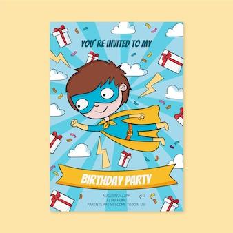Приглашение на день рождения супергероя рисованной