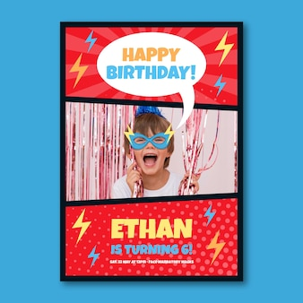 Superhero birthday invitation template design