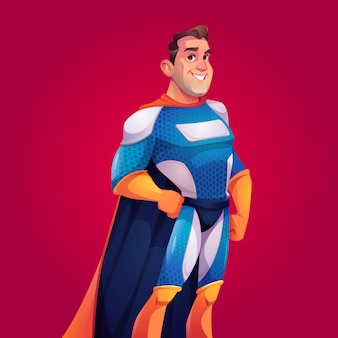 Superhero in blue costume with cape