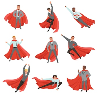 さまざまなポーズのスーパーヒーローのビジネスの男性。ネクタイと赤いマントのフォーマルな服の漫画のキャラクター。昇進。成功したサラリーマン。