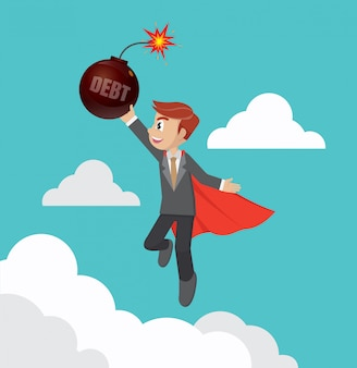 Superhero businessman carry debt bomb.