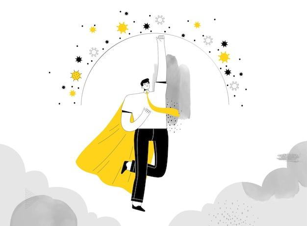 슈퍼 히어로 사업가가 날아 올라 자신의 사업을위한 코로나 바이러스 보호 기능을 만듭니다.