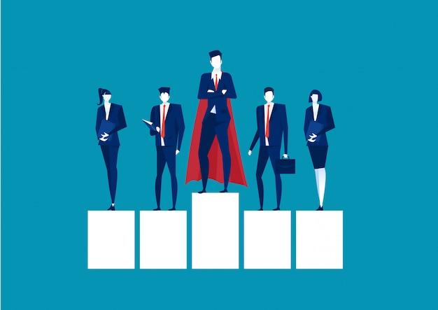 Superhero businessman standing on a platform for leadership on blue background