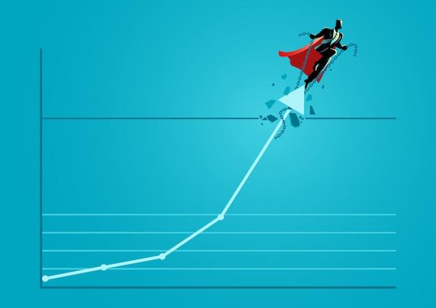 Бизнесмен супергероя, принимая графическую диаграмму через крышу