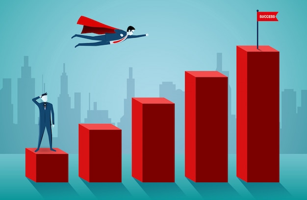Superhero businessmen are flying to the red flag target on bar graph