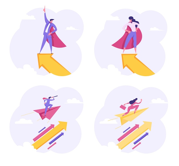 하늘에서 위로 화살표와 함께 비행 슈퍼 히어로 기업인 캐릭터