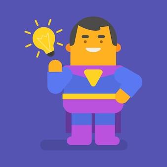 슈퍼 히어로는 아이디어와 미소를 생각해 냈습니다. 벡터 문자입니다. 벡터 일러스트 레이 션