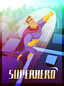 Superhero cartoon poster