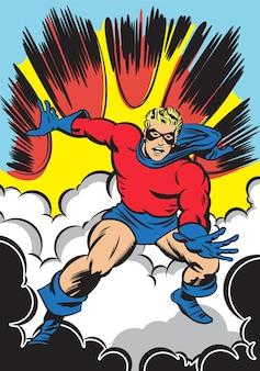 슈퍼 히어로 캐릭터 점프 폭발 만화 배경
