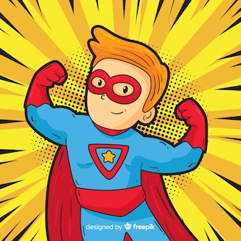 Superhero character with pop art style