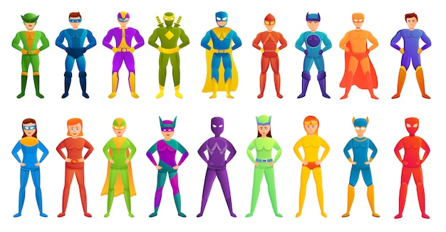 Superhero characters set, cartoon style