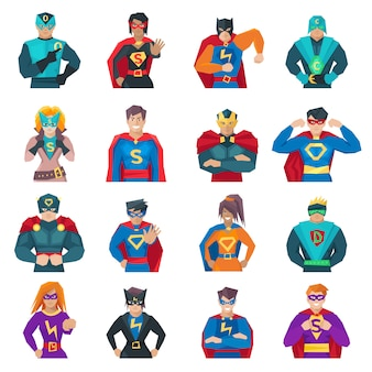 Superhero characters set with strong men and women flat isolated vector illustration
