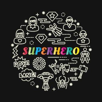 Superhero colorful gradient with line icons set
