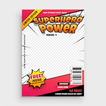 Superhero comic magazine front cover page design