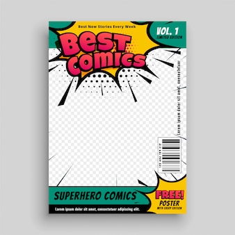 Superhero comic magazine front cover page