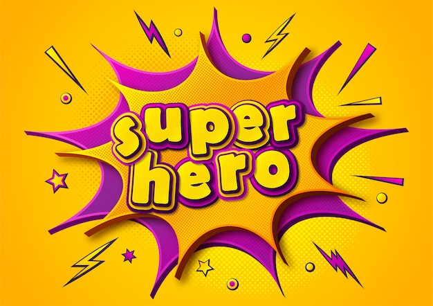 Superhero comics poster. cartoonish thought bubbles and sound effects. yellow-purple banner in pop art style
