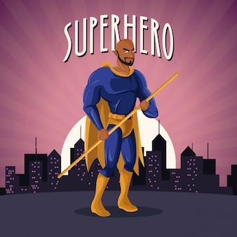 Superhero costume comic standing with sunset city background