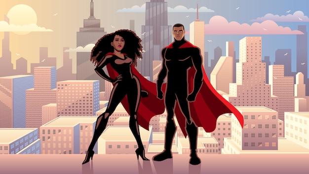 Superhero couple black city day