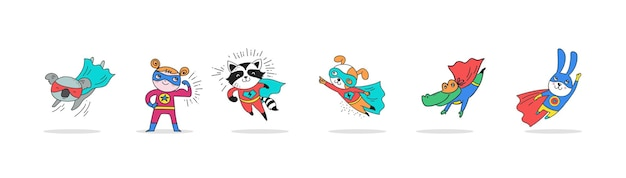 Superhero cute hand drawn animals