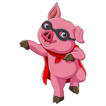 Superhero cute pig cartoon
