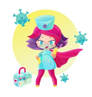 Superhero doctor with vaccine box stop the pandemic