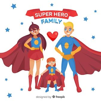 평면 스타일의 슈퍼 히어로 가족 개념