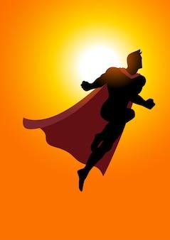Супергерой, летящий на рассвете