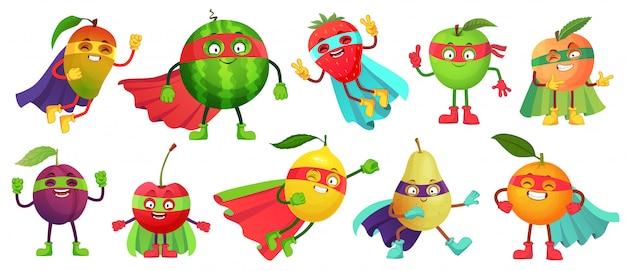 Супергерой фруктовый. супер яблоко, ягода и апельсин в плаще героя. сад супергероев здоровой пищи мультфильм иллюстрации набор