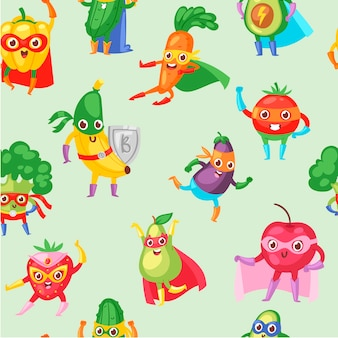 Superhero fruit and vegetables seamless pattern.
