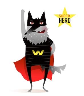 マスクとマントの衣装を着たスーパーヒーローの面白いオオカミ。子供のための愚かな動物パーティー動物。キャラクターデザイン。