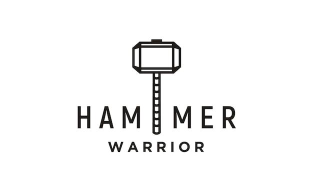 Superhero hammer line art illustration